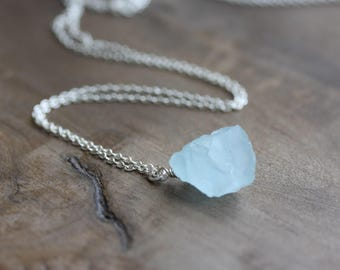 Rough aquamarine necklace - raw aquamarine nugget on sterling silver chain - March birthstone necklace, aquamarine jewelry