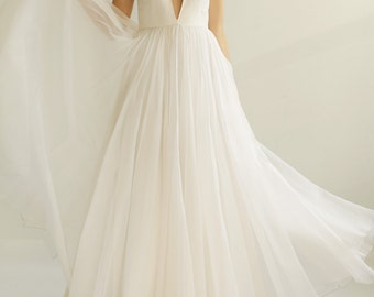 Sample SALE  white fine silk organza Wedding Gown