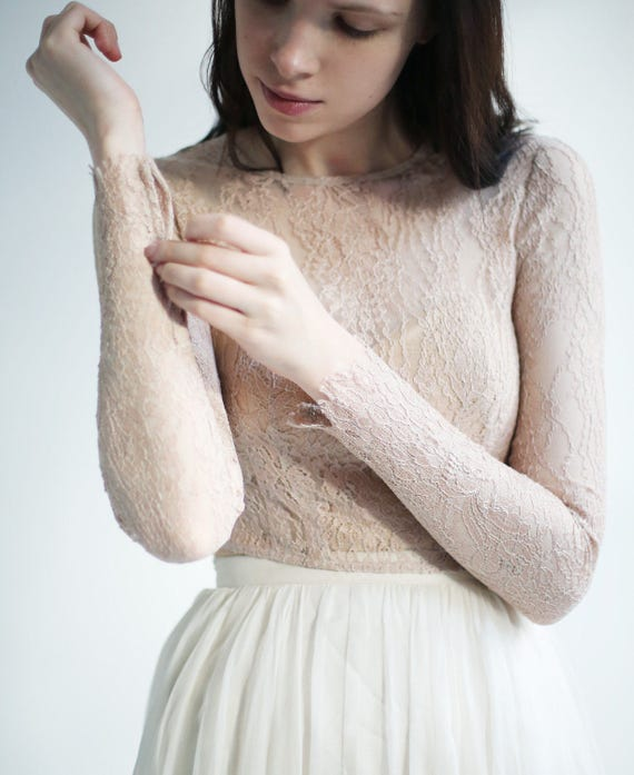 Sample Sale  long sleeve delicate nude Lace wedding top separate--