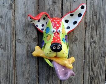 Large Dog Mask with Bone Ceramic Wall Hanging  Handmade by Dottie Dracos, Dog Mask, Ceramic Dog, Dog Face with Bone, Dog Mask, 411173