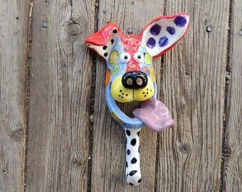 Handmade Ceramic Dog mask wall hanging Leash Holder Hook, Ceramic Dog, Dog Mask, Ceramic Dog Mask,  by Dottie Dracos, 519172
