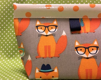 Hipster Fox Oilcloth Snappy Pouch - Medium