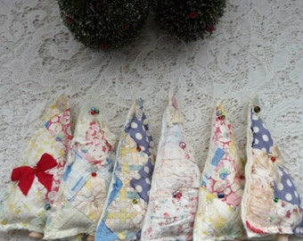 Upcycled quilt ornament, vintage cutter quilt  tree ornament, scrap fabric Christmas ornament, beaded tree, patchwork ornament