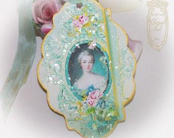 Madame de Pompadour Letters of Passionnante Hand Painted Gold Gilded Edge Favor Tags, Favors, Enclosures Set of 6