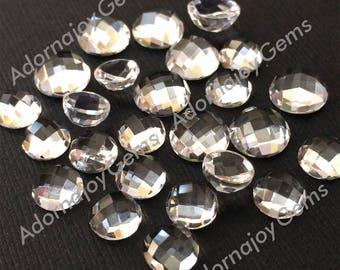 Gemstone Cabochon Clear Quartz 8mm Checkerboard FOUR CABS