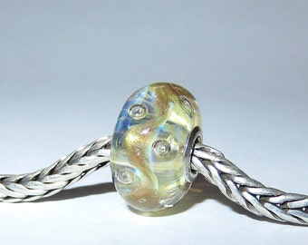 Luccicare Lampwork Bead - Gold Bubbles -  Lined with Sterling Silver