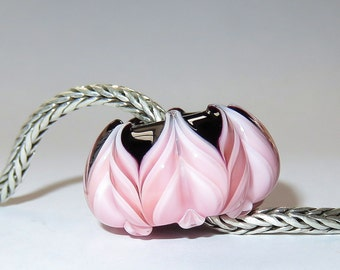 Luccicare Lampwork Bead - Layered Lotus - FOCAL -  Lined with Brass