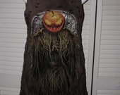 Halloween Costume scary scarecrow jack o lantern pumpkin shredded t shirt tank top micro mini dress cover up