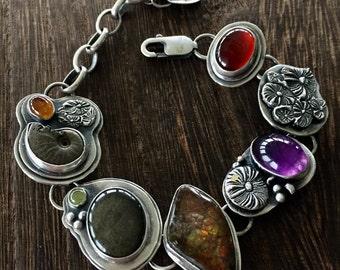Lily pad, treasure bracelet, handmade bracelet, amethyst, carnelian, fossil, sterling silver, adjustable