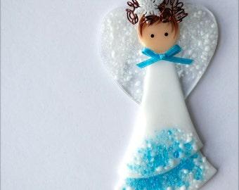 Holiday Angel, Fused Glass Angel, Glass Angel, Christmas Angel, Angel Ornament, Angel, Fused Glass, Handmade, CGGE, TT, 002
