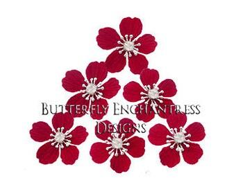 Red Hair Flowers, Bridal Bridesmaid Accessories, Wedding Party Gift - 6 Dk Red Summerlynn Cherry Blossom Flower Hair Pins - Rhinestone