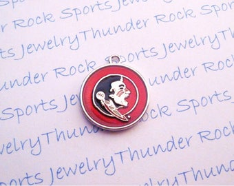 3 FLORIDA State SEMINOLES CHARMS round Antique Silver Plated with red and black enamel Noles University logo College Pendants
