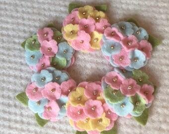 Pretty Pastels Wool Felt Mini Hydrangeas