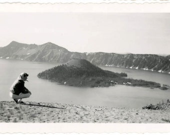 vintage photo 1950 Young Woman Looks Out over Crater Lake Oregon