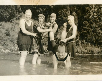 vintage photo 1915 Swimsuit teen Girls Hold up Legs of Young Lady Bathing cap in Lake