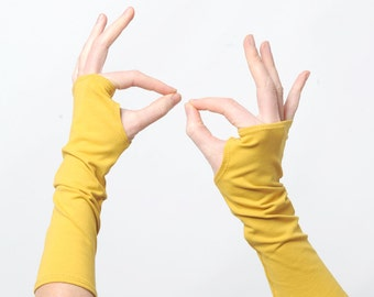 Mustard yellow arm warmers, Mustard fingerless gloves, Jersey fingerless gloves, Jersey wristwarmers, Yellow fingerless armwarmers, MALAM