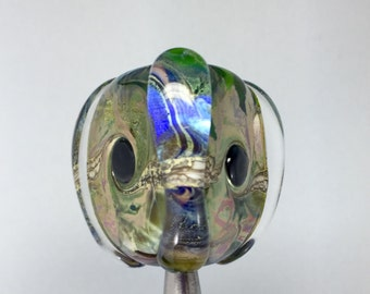 artisan bead, iridescent glass, triangle bead, lampwork bead, three sided bead, Italian glass bead, silver leaf bead, handspun glass