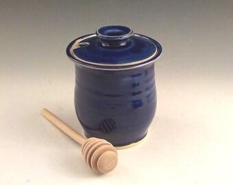 Ceramic Honey Jar - Stoneware Condiment Keeper / Server - Handmade Lidded Jam Jar - Store and Serve - Ready to Ship - Royal Cobalt Blue s501