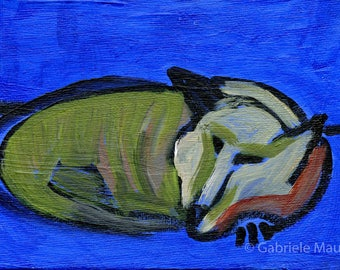 Sleeping cat / MERITA  //  original  /   painting  /  one of a kind painting on a canvas panel  purr purr