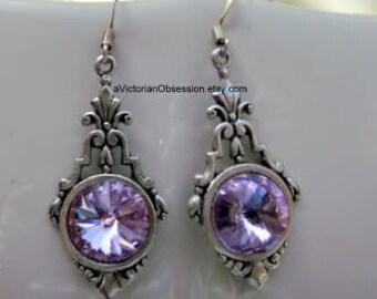 Vintage Victorian lavender Crystal Chandelier earrings