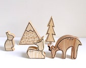 FOREST FRIEND SET wooden heirloom toy nursery hand illustrated decor shelfies flatlay stacklay