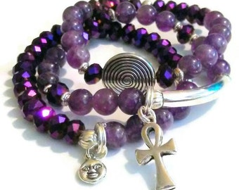 SPECIAL BUY Amethyst Spiral Bead Moon Charm Ankh Purple Crystal Charm Bracelet Set