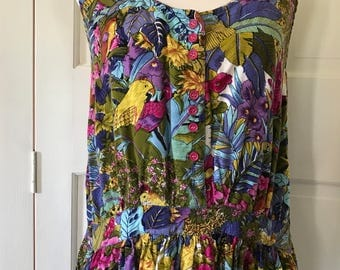80s Tropical Sleeveless Bird Print Dress Pappilon Made in India Size Small