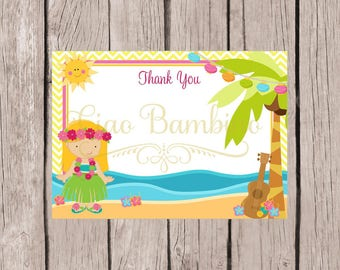 Printable Luau Girl Thank You Card / 5x7 Luau Birthday Party or Baby Shower Thank You Card with Blonde Hula Girl / You Print