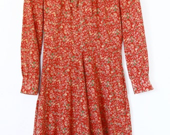 1970s Autumnal Floral Print Dress / Front Neck Tie / Full Skirt