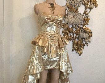 Fall sale 1980s dress peplum dress gold lame' dress size small metallic dress 80s costume vintage dress 80s prom