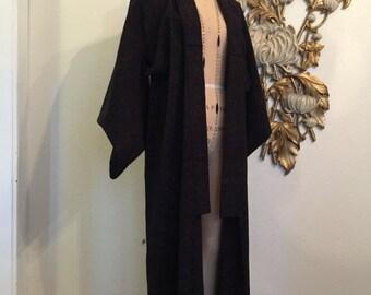 Fall sale Vintage kimono black kimono winter kimono japanese robe antique kimono wool kimono