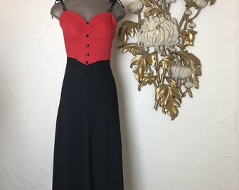 Fall sale 1970s dress maxi dress size small foxy lady disco dress black and red 1930s style dress 70s does the 30s