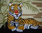 VINTAGE FABRIC 70s Tiger wall hanging 1977 handprinted by Joan Spatrizano  Domus Textiles