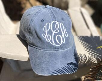 Monogrammed Cap - Monogrammed Hat - Beach Summer Monogram Hat
