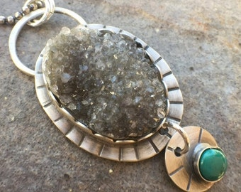 25% Off - Druzy Agate Turquoise Sterling Silver Necklace