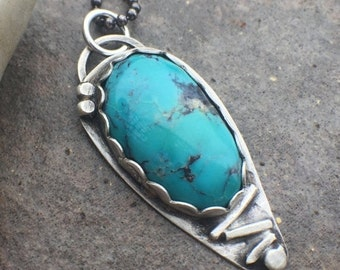 20% Off - Sterling Silver Turquoise Bold Necklace