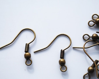 Antique Vintage Brass Ear wire with Ball and Coil, Ear Hook, 20MM, PK26