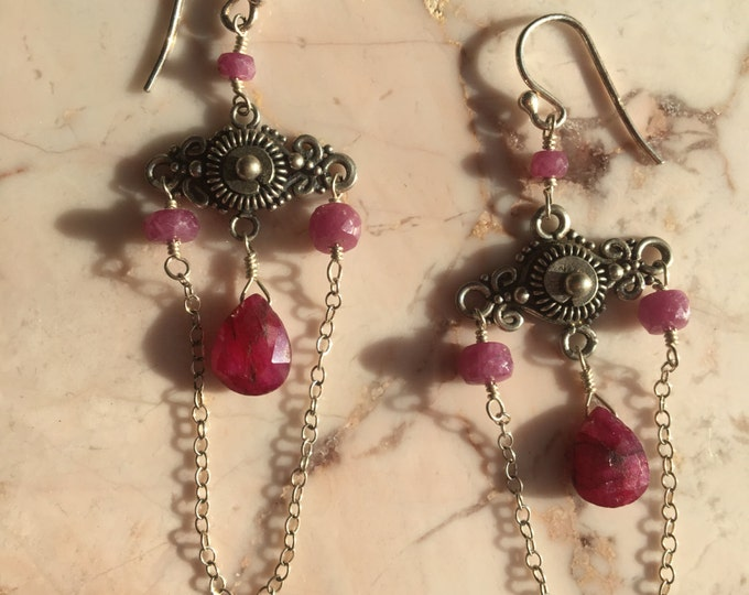 Red Ruby and Bali Silver Chandelier Earrings