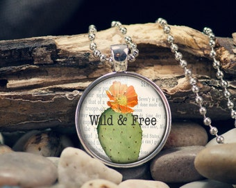 """Wild and Free boho style pendant with southwestern cactus design in an 1"""" setting, keyring option available"""