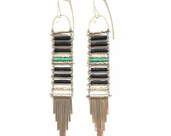 SALE  Black Jade and Turquoise Ladder Earrings