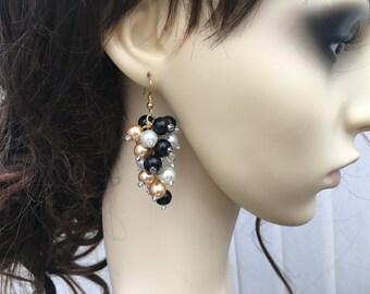 Black Gold and Ivory Pearl Cluster Earrings, Bridal Pearl Earrings, Beaded Earrings, Bridesmaid Earrings, Wedding Jewelry, Dangle Earrings