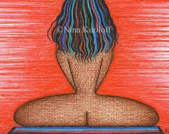Female Nude Original Art drawing female figurative Black African American BBW