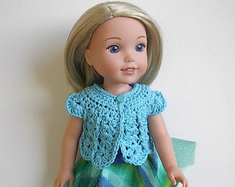 14.5 Inch Doll Clothes Crocheted Sweater Top Handmade to fit the Wellie Wishers and other similar dolls - Turquoise Blue Sweater