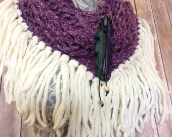 Wisteria Raven cowl... knit crocheted fringed yarn soft scarf leather tie bohemian boho