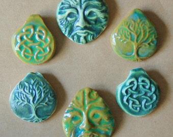 6 Handmade Ceramic Beads - Pinch top Celtic Beads - Handmade beads for hemp pendants and Festivals Stoneware Celtic knot, Greenman