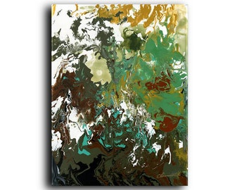 Original Painting Labyrinth Contemporary Modern Abstract Acrylic Fluid Painting Green Art Neutral Art Canvas Painting