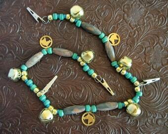 Rhythm Beads Horse Mane Jewelry for horse or pony, Swag Style Mane Crest Southwestern Jewelry Gold Turquoise Gemstones, Horse Charms Unique