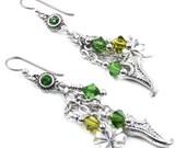 St. Patrick's Day Earrings, Leprechaun Earrings, Emerald Crystal Earrings, Four Leaf Clover Earrings, St. Patty's Day Gift