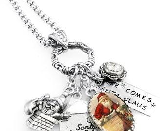 Santa Necklace, Christmas Jewelry, Santa Jewelry, Stainless Steel Santa Necklace, Holiday Jewelry