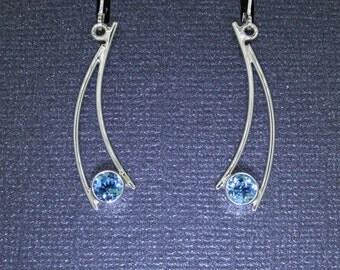 Blue Topaz GemDrops Earrings, sterling silver and blue topaz, dangle earrings